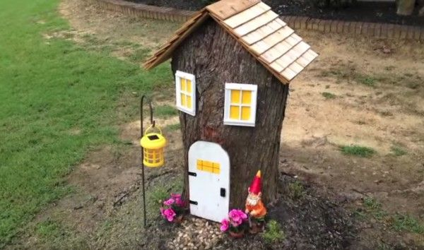 She Turns An Ugly Tree Stump Into An Adorable Fairy House